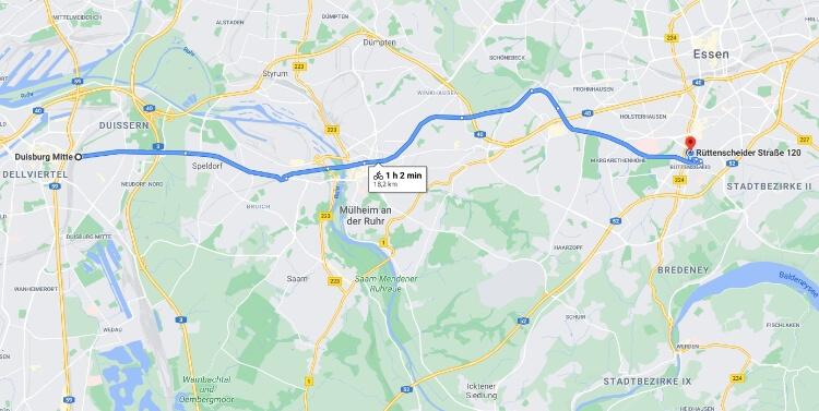 Wegbeschreibung aus Duisburg ins collective.ruhr